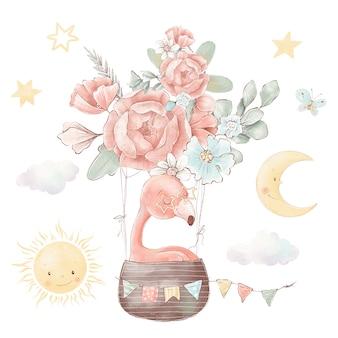 Set of cute cartoon flamingos and flowers. watercolor illustration