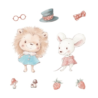 Set of cute cartoon hedgehog and mouse with berries and mushrooms.