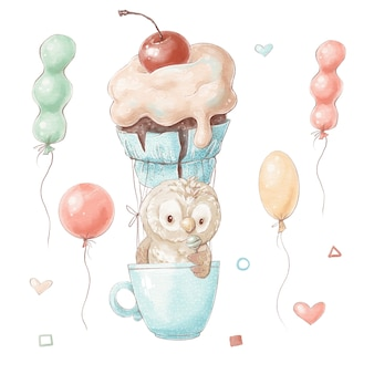 Set of cute cartoon owl in a balloon in the shape of a cake in a cup.