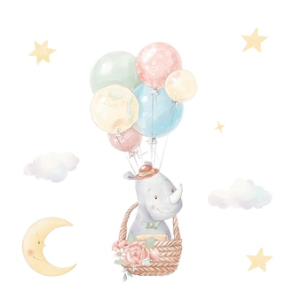 Set of cute cartoon rhino in a hot air balloon. watercolor illustration.