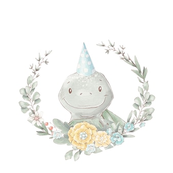 Set of cute cartoon turtle and flower frame. watercolor illustration.