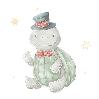 Set of cute cartoon turtle wearing a hat. watercolor illustration.