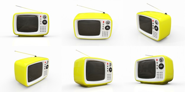 흰색 바탕에 안테나가 있는 귀여운 오래된 노란색 tv를 설정합니다. 3d 그림입니다.