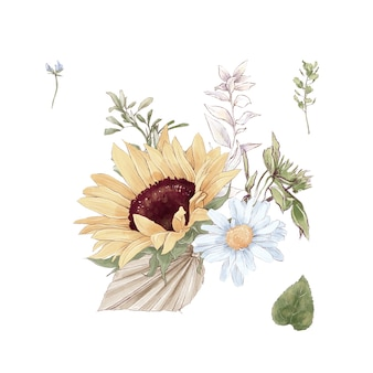 Set of cute sunflowers flowers branches and leaves. watercolor illustration