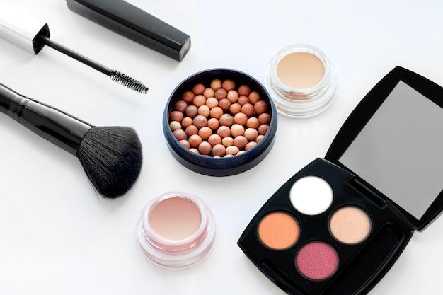 Set of decorative cosmetics on white background