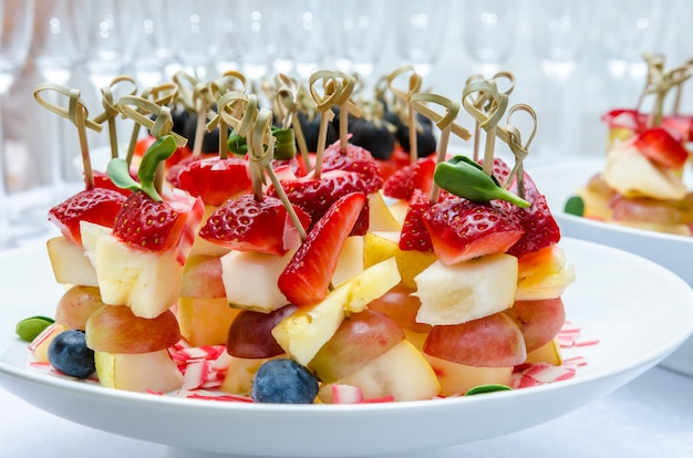 Set of delicious canapes with strawberry