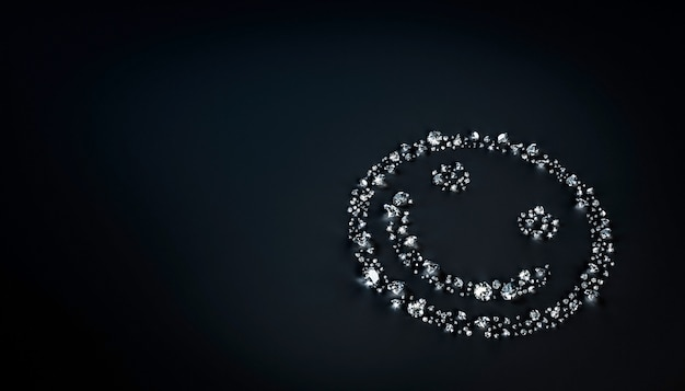 Set of diamonds lying in the shape of a smiling face on the surface. 3d illustration