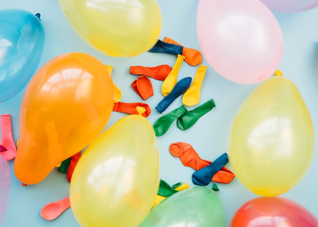 Set of different bright balloons