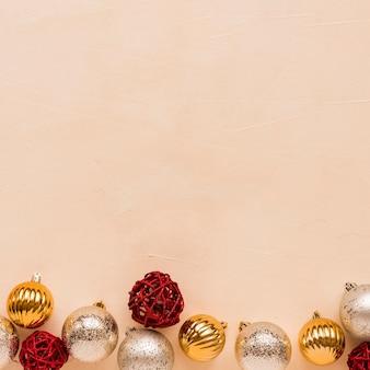 Set of different christmas balls