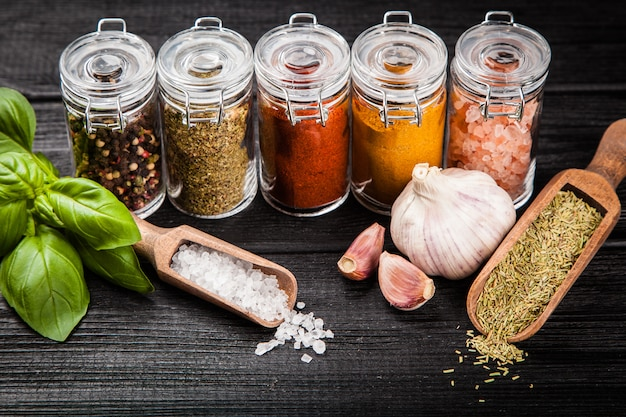 Set of different herbs and spice