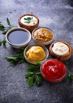 Set of different sauces and spices