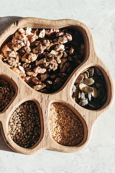 Set of different seeds and nuts, natural healthy food for cooking