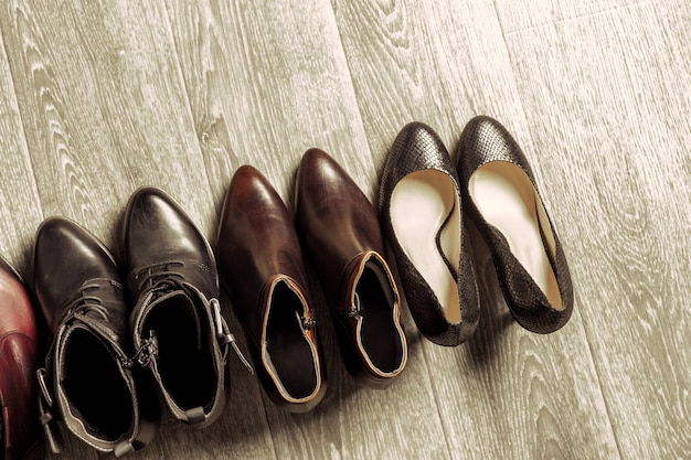 Set of different shoes