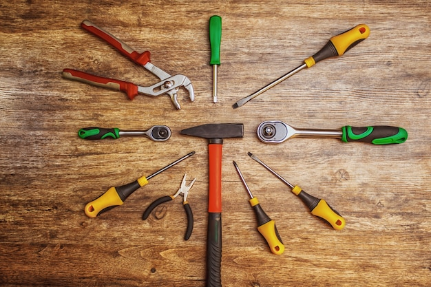 Set of different working tools