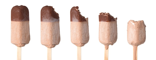 Set of diffrent ice creams on stages of eatings isolated on white background.