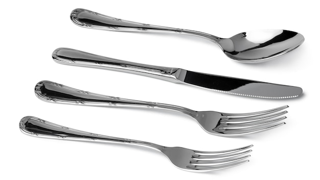 Set of dining cutlery isolated on white background close up