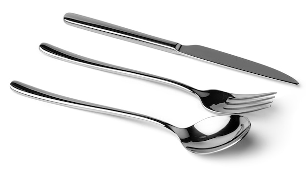 Set of dining cutlery isolated on white background