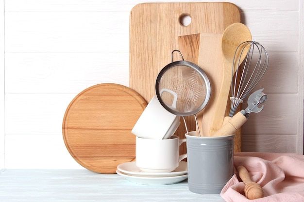 Set of dishes close-up on a colored background. kitchen appliances. kitchen utensils. high quality photo
