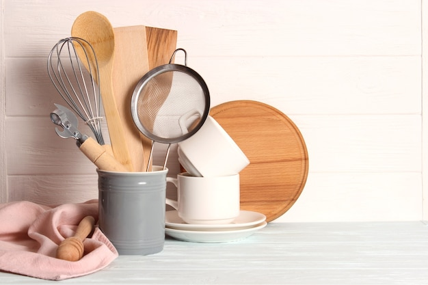 Set of dishes closeup on a colored background kitchen appliances