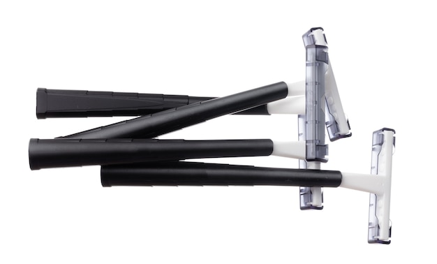 Set of disposable shaver razors isolated on white background