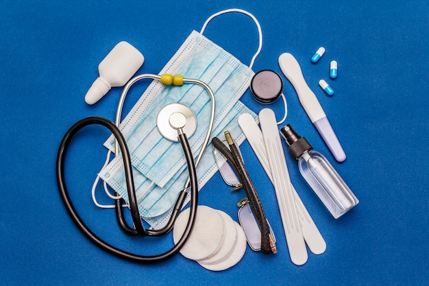 Set of diverse medical items. means for the prevention, personal hygiene and treatment of the symptoms of coronavirus