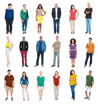 Set of diverse people