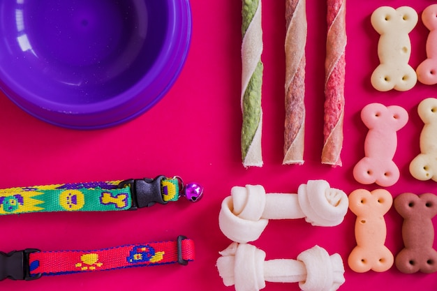 Set of dog snacks dish and collars