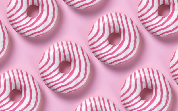 Set of donuts on pink pastel background, minimalism contemporary style