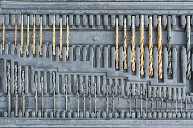 Set of drill bits for drilling in the black box.
