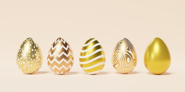 Set of easter eggs decorated with golden textures and patterns on beige wall, spring april holidays , 3d illustration render