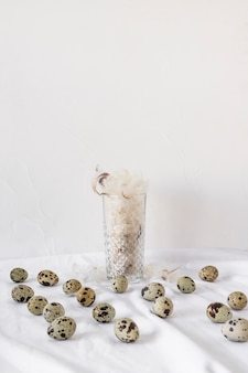 Set of easter quail eggs near heap of feathers in vase on textile