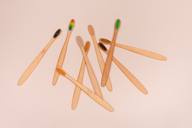 Set of eco bamboo toothbrushes. zero waste and teeth care concept. top horizontal view copyspace .