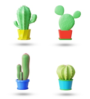Set elements of cactus in cartoon minimal style with white background and clipping path. 3d illustration rendering.