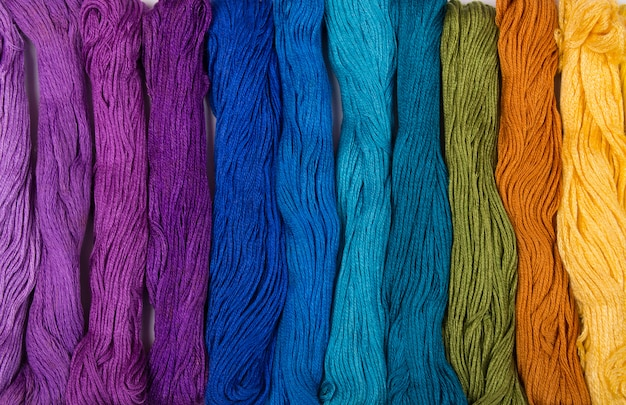 Set of embroidery threads background