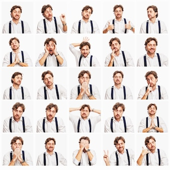 Set of emotional images of a red-haired man with a beard in a white shirt. white wall. square.