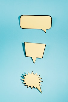 Set of an empty speech bubbles on blue background