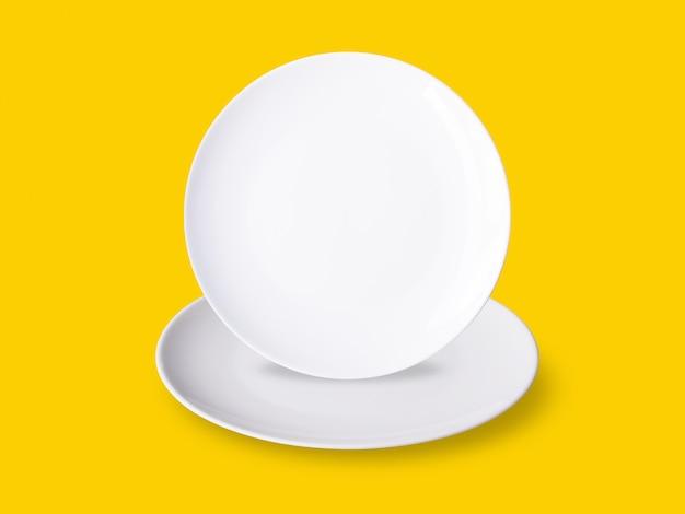 Set of empty white round plates