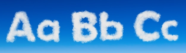 Set - the english alphabet from clouds abc.