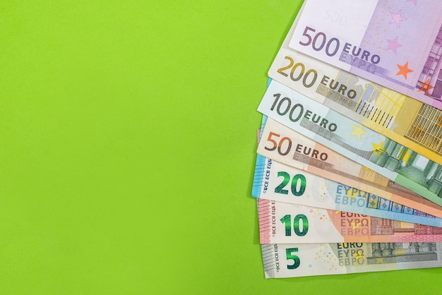 Set of euro money isoalted on green