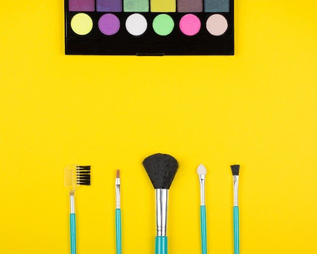 Set of eye shadows and eye shadow brushes