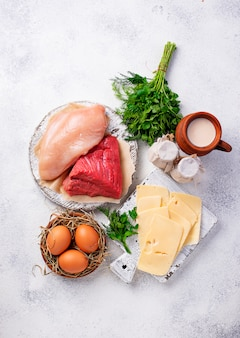 Set of farm products. meat, eggs and milk