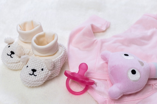 Set of fashion trendy clothes and kids stuff for little baby woman