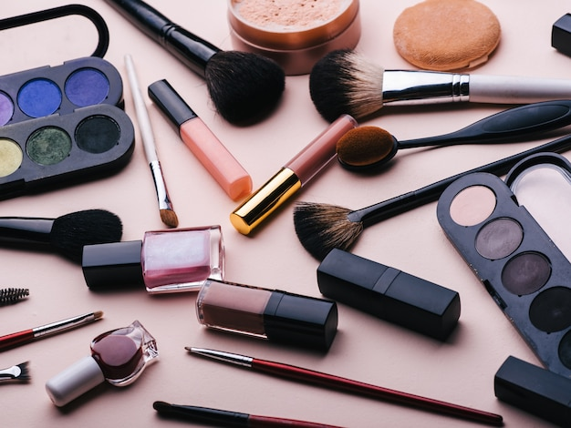 Set of female cosmetics for eye makeup, skin face care. professional products for beauty