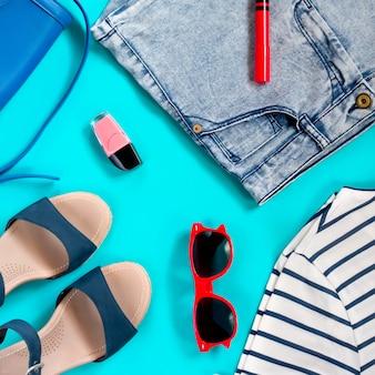 Set of female summer clothing overhead, flat lay