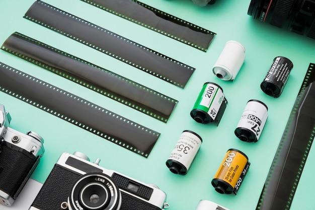 Set of film near retro camera