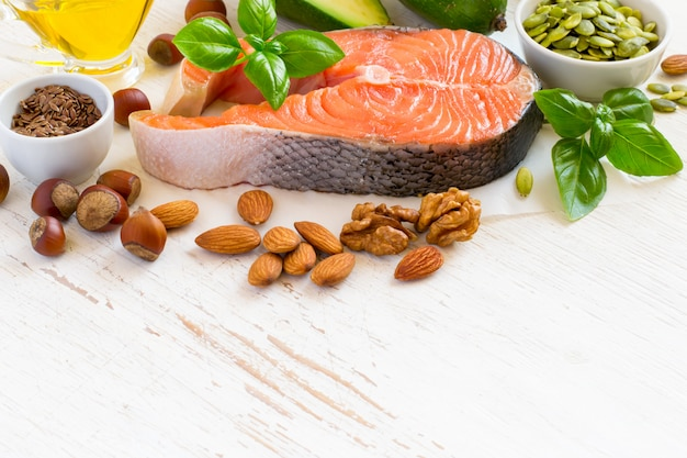 Set of food with high content of healthy fats