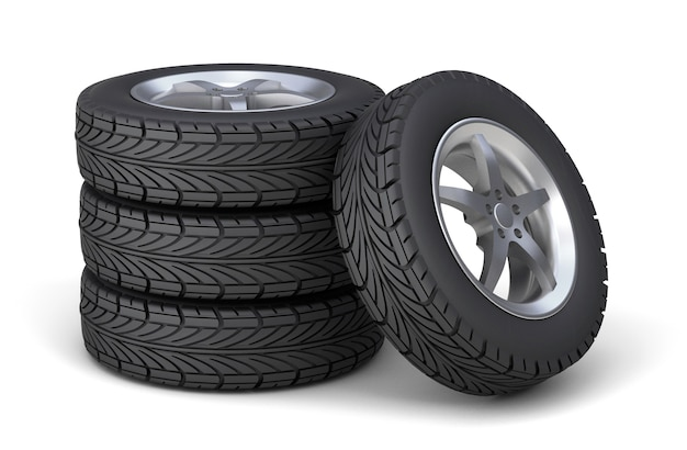 Set of four tires with disks. isolated on white background. 3d render.