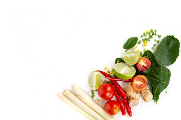 Set of fresh herbs and ingredients for tom yum
