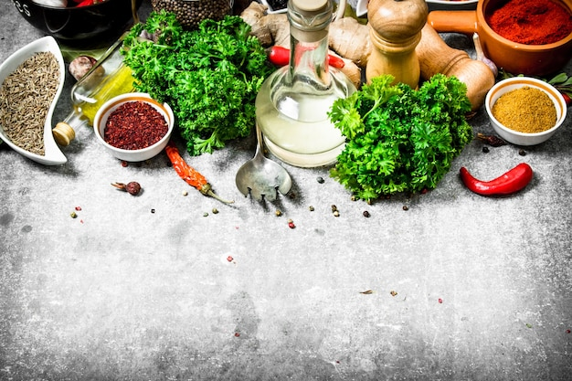 Set of fresh spices and herbs. on a stone background.