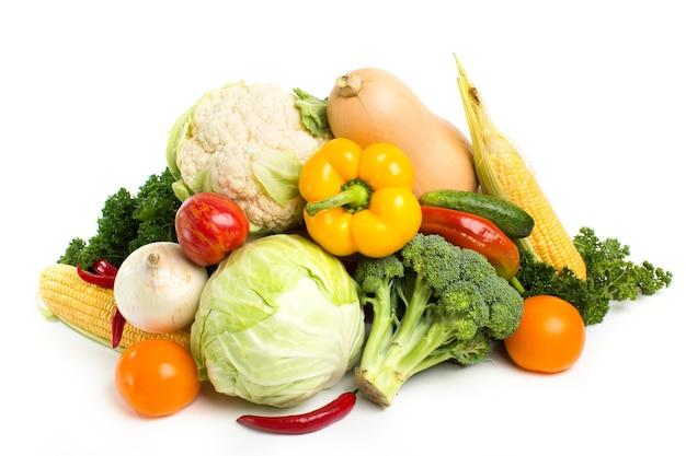 Set fresh vegetables isolated.